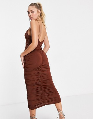 ASOS DESIGN cami strappy midi dress with ruched detail in brown