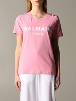 Balmain Short-sleeved T-shirt With Logo And Buttons