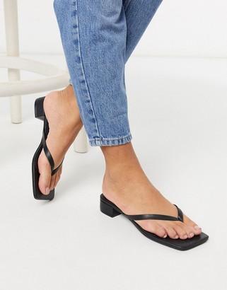 Monki Lovisa low heel thong sandal in black