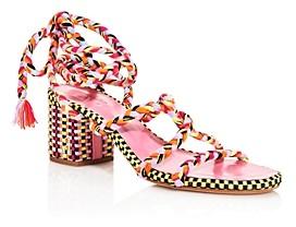 Antolina Women's Woven Ankle Wrap Block Heel Sandals