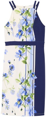 Gabby Skye Striped Floral Split Strap Dress