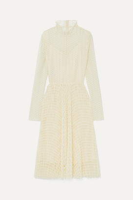 Philosophy di Lorenzo Serafini Open-knit Turtleneck Midi Dress - Ivory