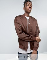 Mennace Sateen Ma1 Bomber Jacket In Brown