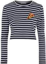 Glamorous **Pizza Embroidered Striped T-Shirt