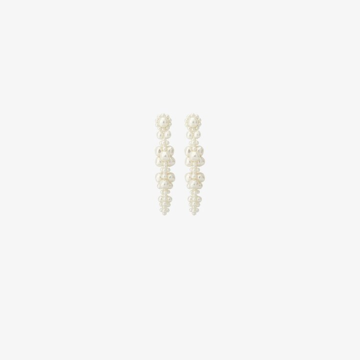 Thumbnail for your product : Simone Rocha White Pearl Flower Drop Earrings