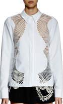 Stella McCartney Long-Sleeve Mesh-Inset Blouse, White