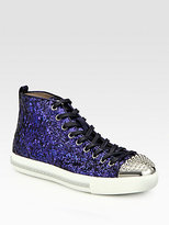 Miu Miu Studded Glitter High-Top Sneakers