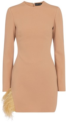David Koma Exclusive to Mytheresa Feather-trimmed cady minidress
