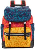 Bally Alpina Large Notebook-Print Backpack, Blue/Red/Orange