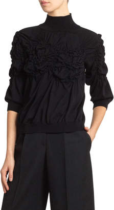 Simone Rocha Ruched Flower Turtleneck Sweater