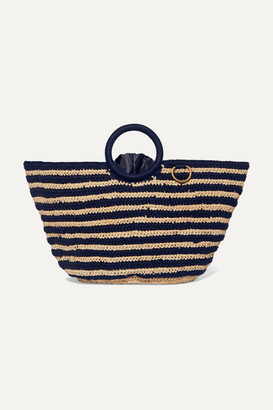 Mizele - Sun Striped Crocheted Raffia And Cotton Tote - Navy