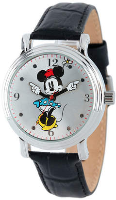 Disney Collection Minnie Mouse Womens Black Leather Strap Watch-W001873