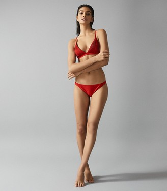 Reiss Raquel - Pleat Detail Bikini Top in Red