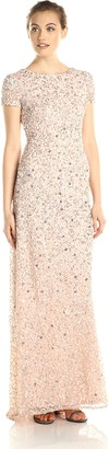 Adrianna Papell Women's Petite Short-Sleeve All Over Sequin Gown