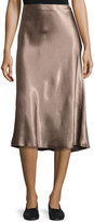 Vince Flared Satin Midi Skirt, Coffee