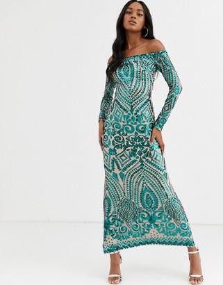 City Goddess off the shoulder long sleeve sequin maxi dress
