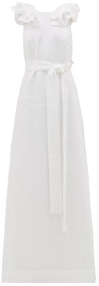 Kalita Eros Ruffled V-back Linen Maxi Dress - White