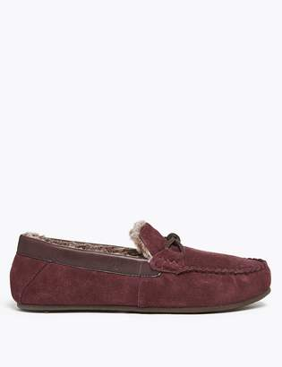 Marks and Spencer Suede Knot Saddle Moccasin Slippers