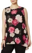 Calvin Klein Womens Plus Floral Sheer Overlay Tank Top
