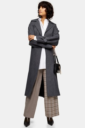 Topshop Womens Charcoal Grey Trench Coat - Charcoal