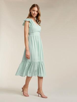 Forever New Estelle Petite Tiered Midi Dress - Pale Sage - 10