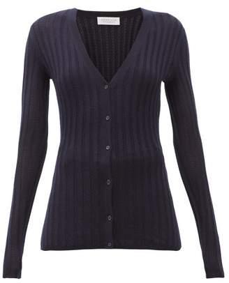 Gabriela Hearst Homer Jaipur Ribbed-knit Cashmere-blend Cardigan - Womens - Navy