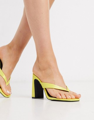 Qupid thong heeled mules in yellow