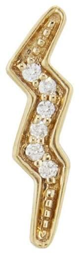 Andrea Fohrman Mini Diamond Lightning Bolt Single Stud Earring - Yellow Gold