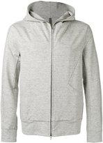 Attachment seamed zip hoodie - men - Cotton/Linen/Flax/Polyurethane - II