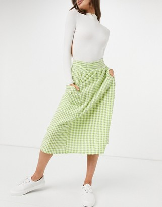 Monki midi skirt in gingham check