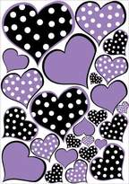 Presto Wall Decals Purple and Polka Dot Heart Wall Decals Stickers