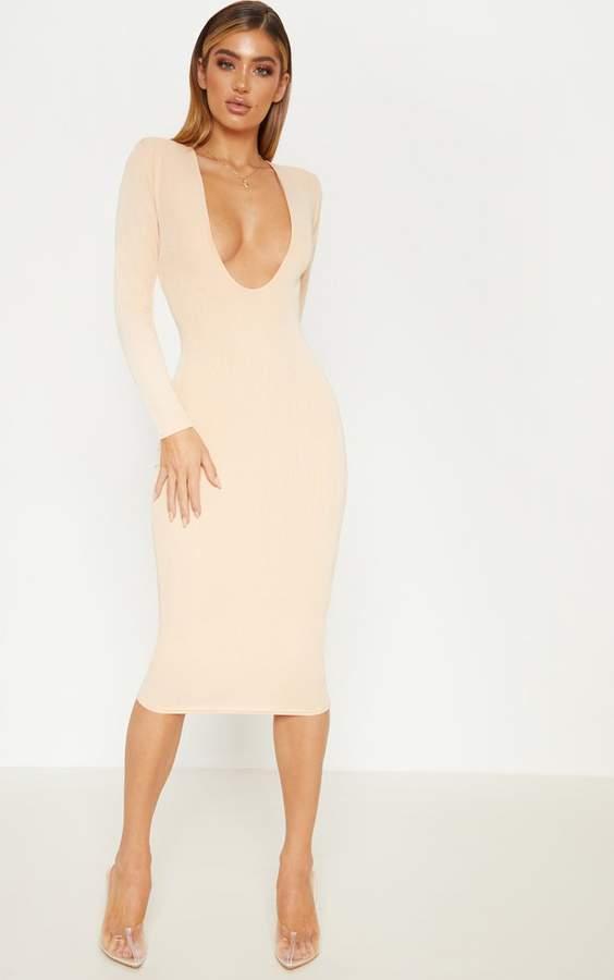 PrettyLittleThing Nude Rib Shoulder Pad Plunge Midi Dress