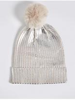 M&S Collection Foil Knit Pom Winter Hat