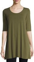 Eileen Fisher Half-Sleeve Scoop-Neck Jersey Tunic, Petite