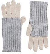 Barneys New York WOMEN'S LAYERED-LOOK STOCKINETTE-STITCHED GLOVES-GREY SIZE NA