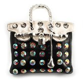 Avalaya Black Crystal Designer Bag Brooch (Silver Tone)