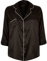 River Island Womens Black snake jacquard shirt