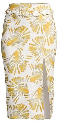 Azulu Arsenal Side-Slit Printed Linen Pencil Skirt