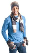 Muk Luks Men's Ombre Knit Scarf, Beanie, And Flip Mittens Set