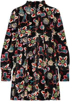 Valentino Pleated Floral-print Velvet Tunic