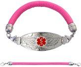 "Divoti Custom Engraved Angel Wing Medical Alert Bracelet -Pink Lamb Leather Band-Red-8.0"""