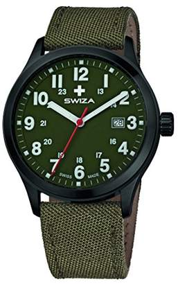 SWIZA Kretos Ghent Quartz Movement, Stainless Steel Casing, 24h Display, Fabric Strap, Olive Luxury Watch Made in Swiss