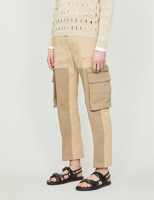 Fendi Two-tone slim-fit stretch-cotton trousers