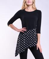 Lbisse Women's Tunics Black - Black & Ivory Pin Dot Asymmetrical Three-Quarter Sleeve Tunic - Women