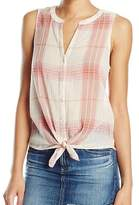 Lucky Brand Pink Women's Size Small S Tank Plaid Tie-Front Top