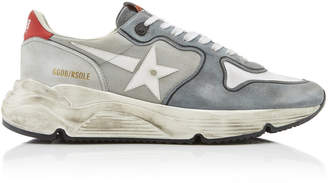 Golden Goose Running Sole Distressed Suede, Mesh And Rubber Sneakers