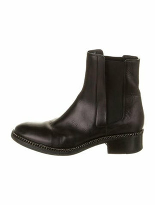 Barneys New York Leather Chain-Link Accents Chelsea Boots Black
