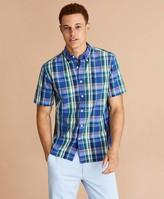 Brooks Brothers Plaid Cotton Broadcloth Short-Sleeve Shirt