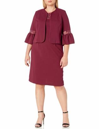 Maya Brooke Women's Embroidered Detail Flared Sleeve Jacket Dress