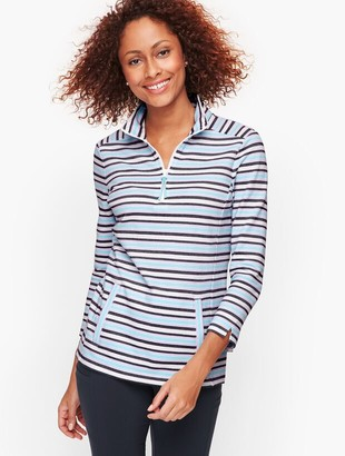 Talbots Knot Stripe Half Zip Pullover